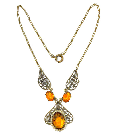 Antique Art Deco Era Amber Czech Glass & Seed Pearl Brass Flower Necklace