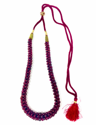 Antique Victorian Era Bohemian Garnet Beaded Tassle Necklace
