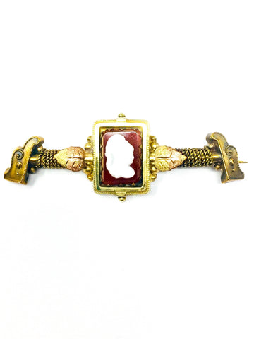 Antique Victorian Era Carnelian & Gold Filled Carved T-Bar Brooch
