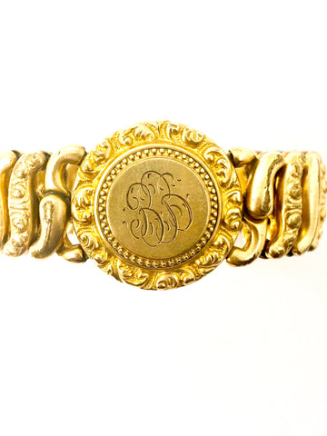 Antique Edwardian Era '1907' Monogrammed Gold Filled Expandable Bracelet