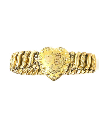 Antique Edwardian Era D.F. Briggs Co. 'Carmen' Gold Filled Sweetheart Bracelet