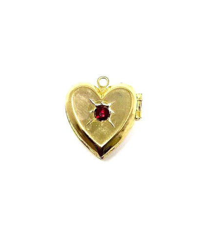 Antique Victorian Era Gold Plated & Ruby Glass Paste Locket Pendant