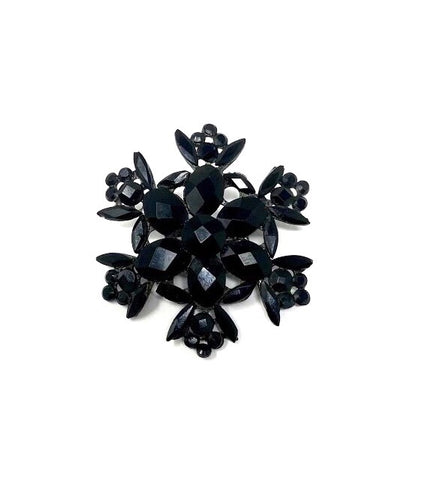 Antique Victorian Era Black Flower/Snowflake Carved Vauxhall Glass Mourning Brooch