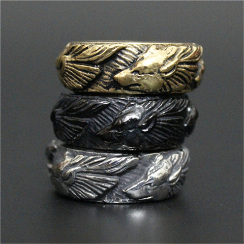 Newest Golden Silver Black Wolf Ring