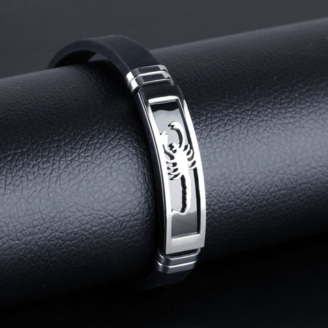Leather Stainless Steel Scorpion Bracelet