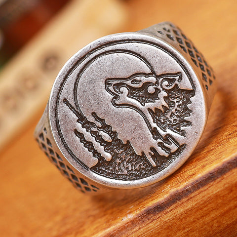 Antique Silver Talisman Wolf Ring