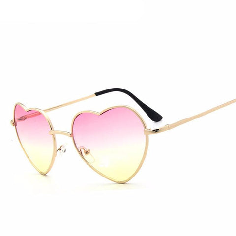 Heart Shaped Metal Reflective Sun Glasses