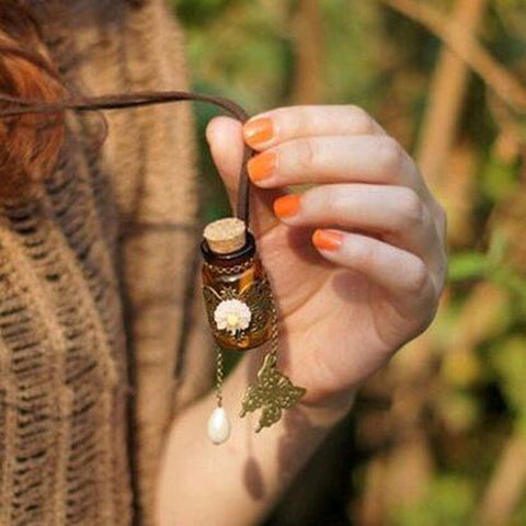 Retro cork Wishing bottle sweater chain necklaces