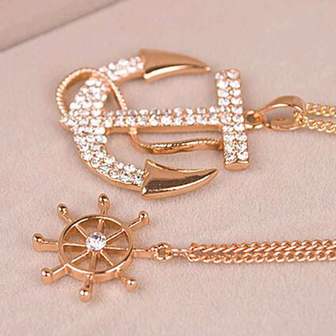 Rhinestone Anchor Rudder Pendant Necklace