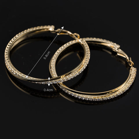 Simple Pierced Big Round Hoop Earrings