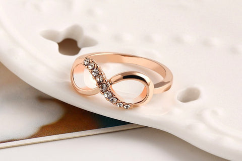 Crystal Rings Gold Color Infinity Ring