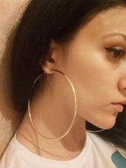Gold-color Big Circles Hoop Earrings