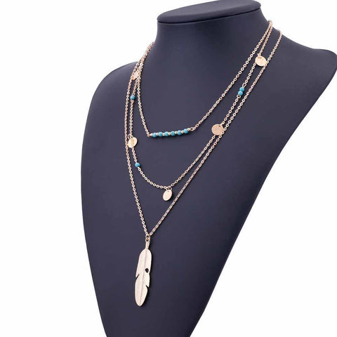 50% OFF Feather Necklace Leaf Layer
