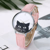 Image of Women Stainless Steel Case Leather Casual Cat Watch