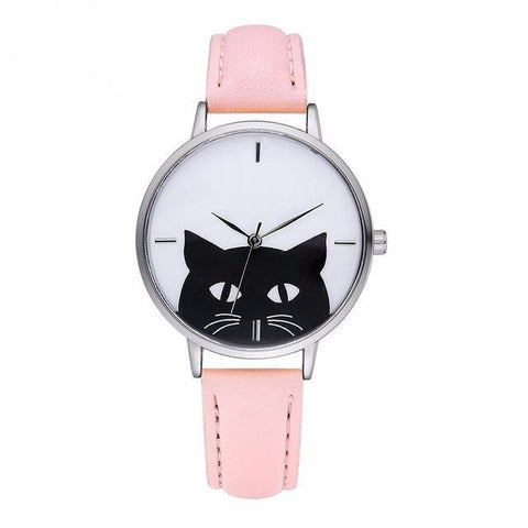 Women Stainless Steel Case Leather Casual Cat Watch