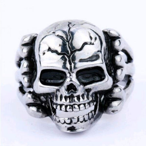 Men's Skull Flower Biker Zinc alloy Ring