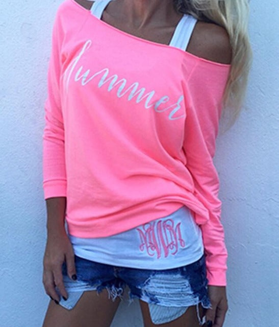 Fashion t-shirt women tops full sleeve slash neck off shoulder pink letter causal t-shirt