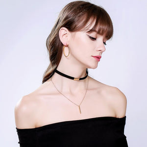Stylish Black and Brown Velvet Choker Necklaces For Women