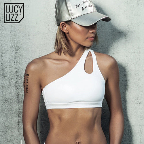 Sexy One Shoulder Solid Sports Bra For Women