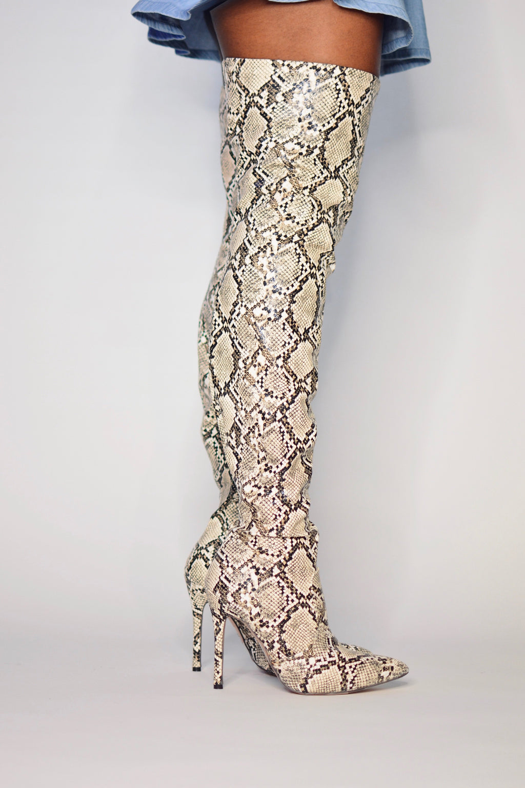 Lola | Snake Print Thigh High Boots - The Minka Collection