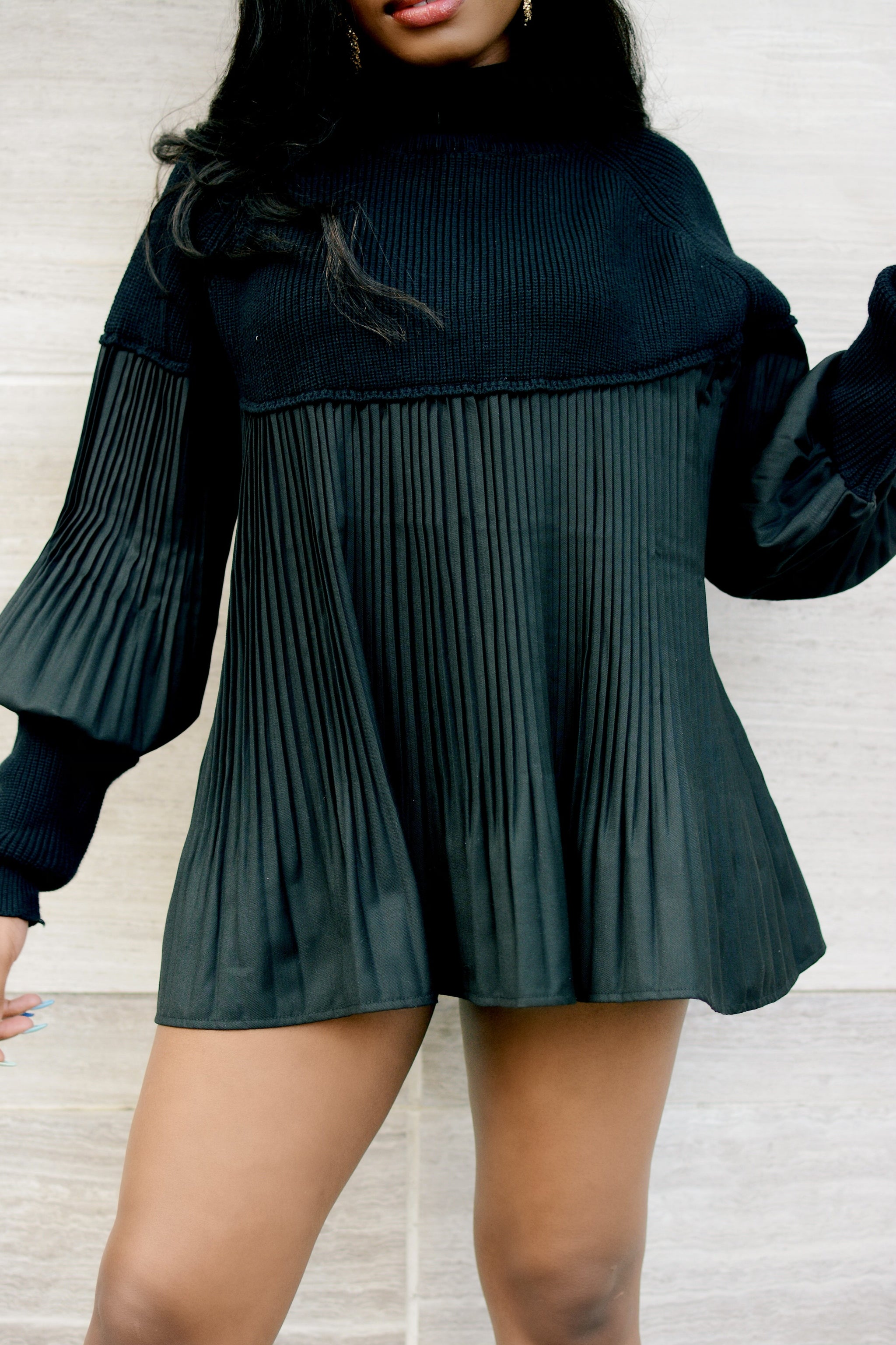 Nice For What | Black Sweater Top