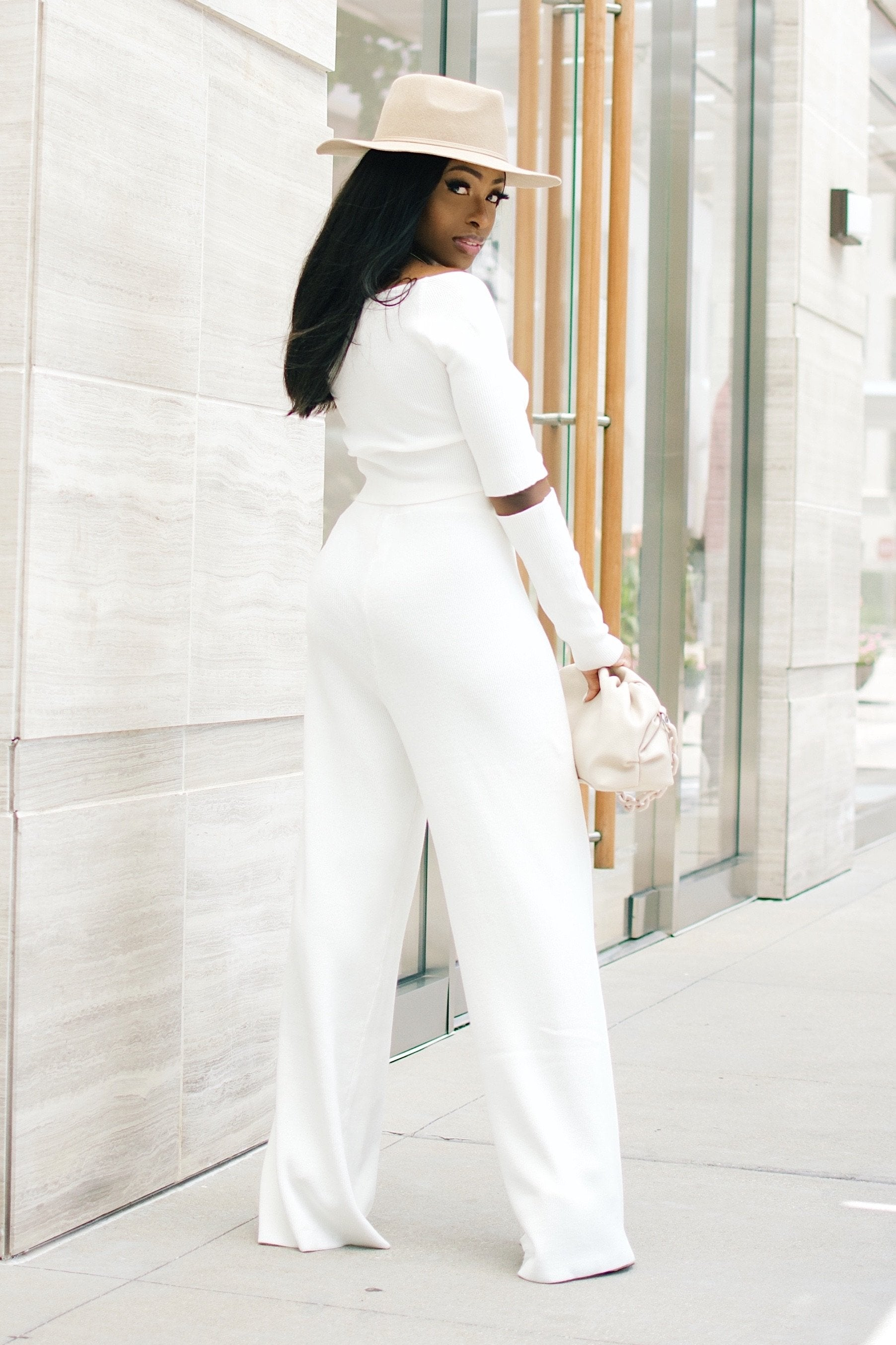 The Marilyn | knit Pant Set (White)
