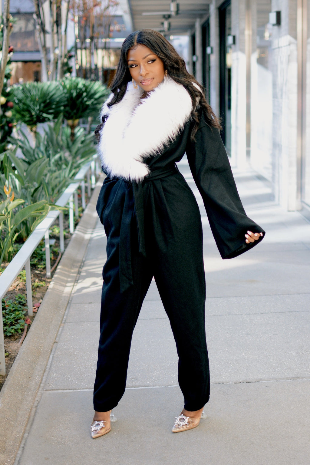 HBIC | Faux Fur Detachable Collar Jumpsuit