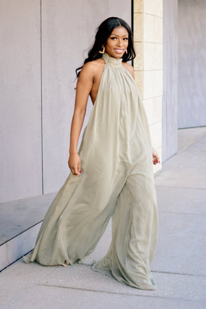 Olive Twist | Wide Leg Jumpsuit