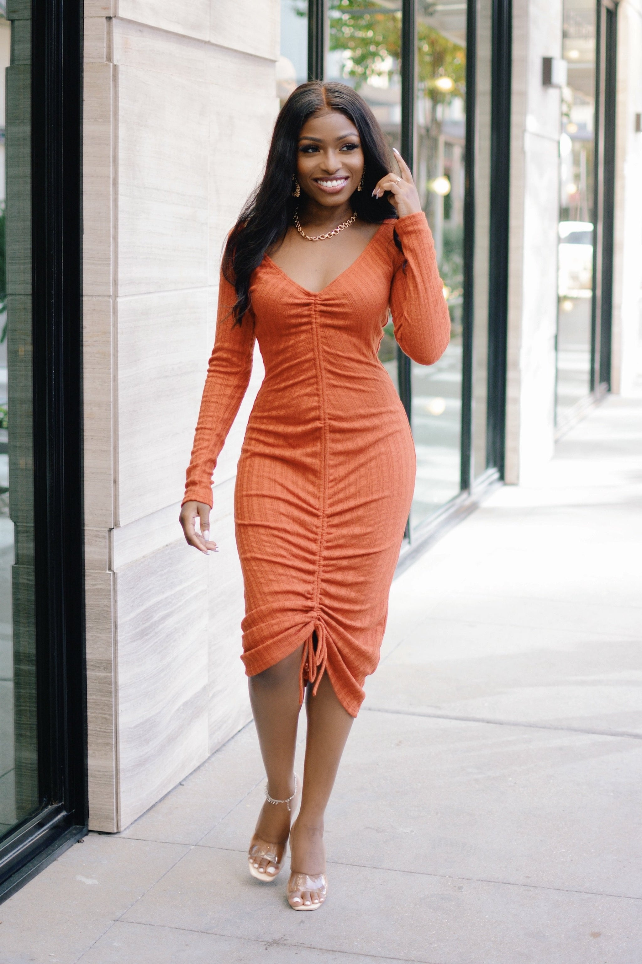 Coolin' It Too | Ruched Midi Drawstring Dress