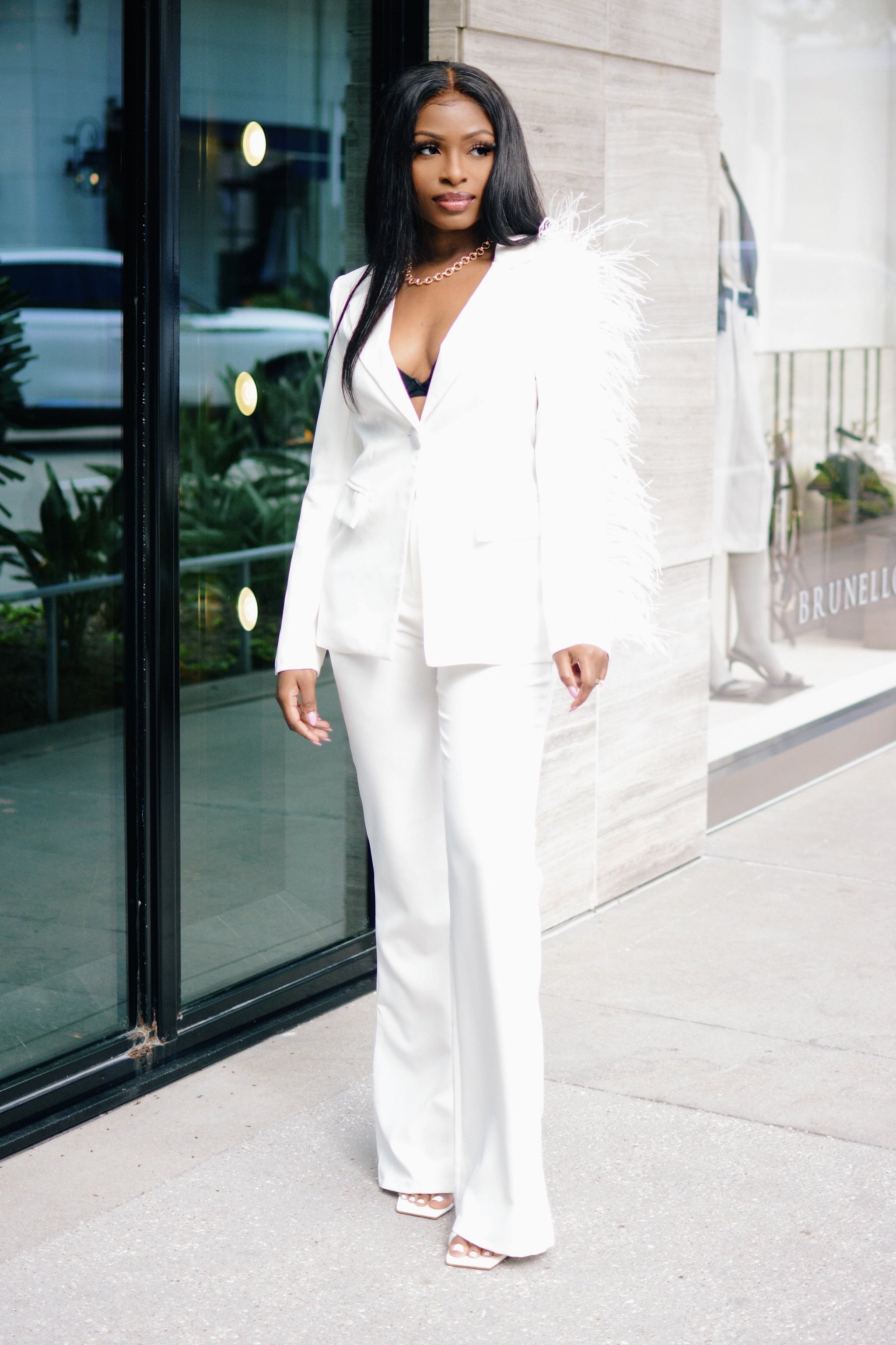 It's Just Business | Feather Detail Pant Suit Set