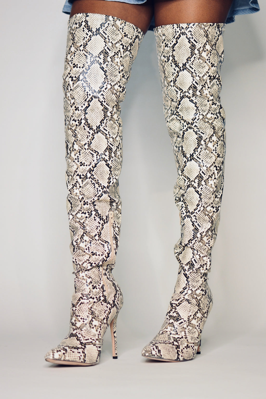 Lola | Snake Print Thigh High Boots