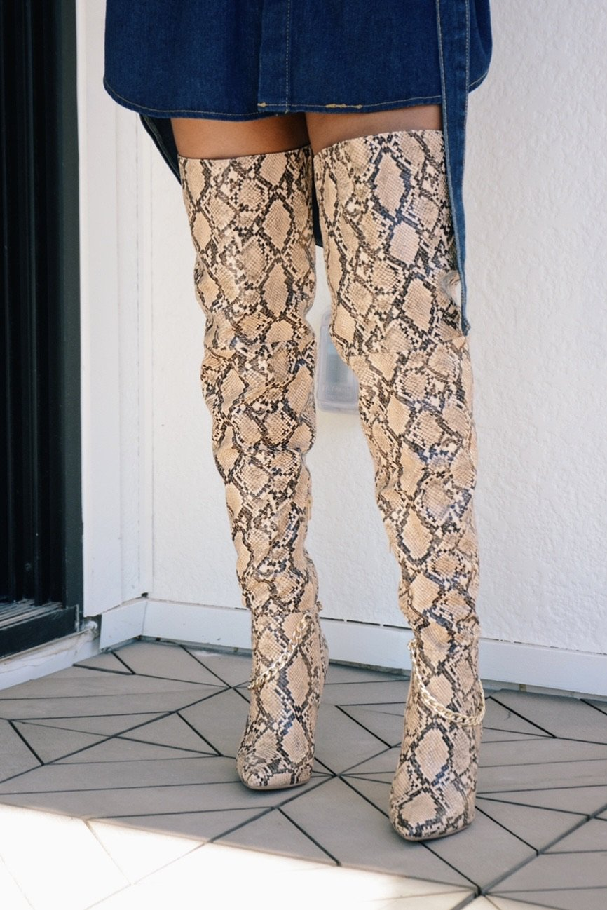 Lola III | Chain Detail Snake Print Thigh High Boots