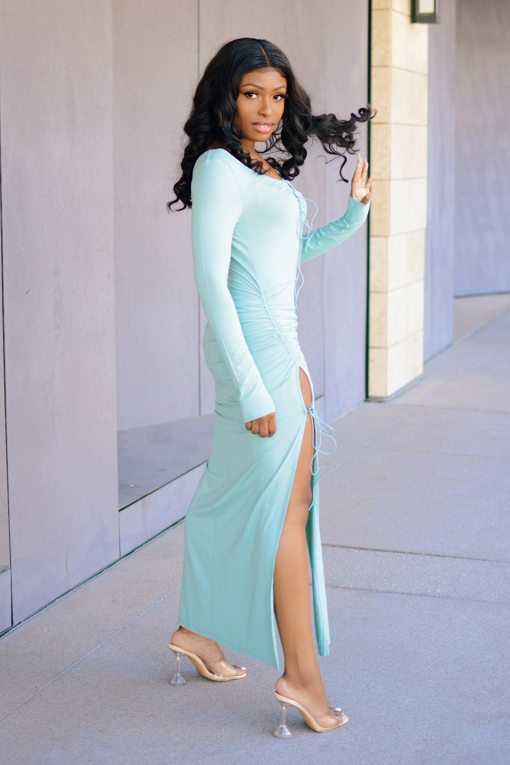Mint To Be | Double Slit Maxi Dress
