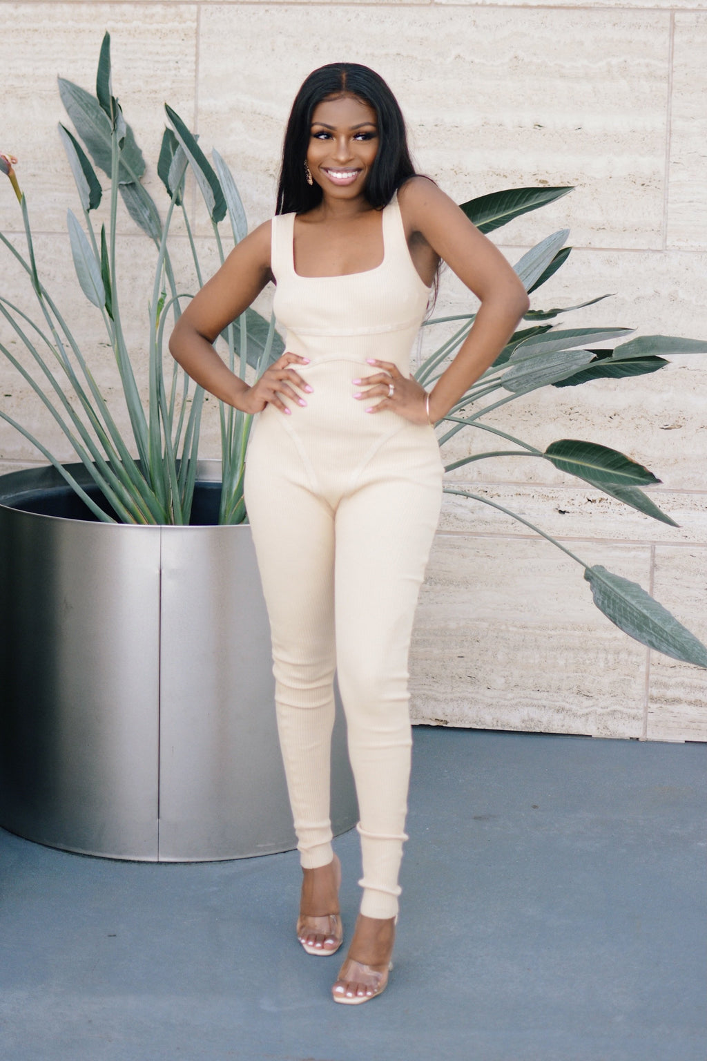 Lounging Around | Ribbed Knit Jumpsuit (Beige)