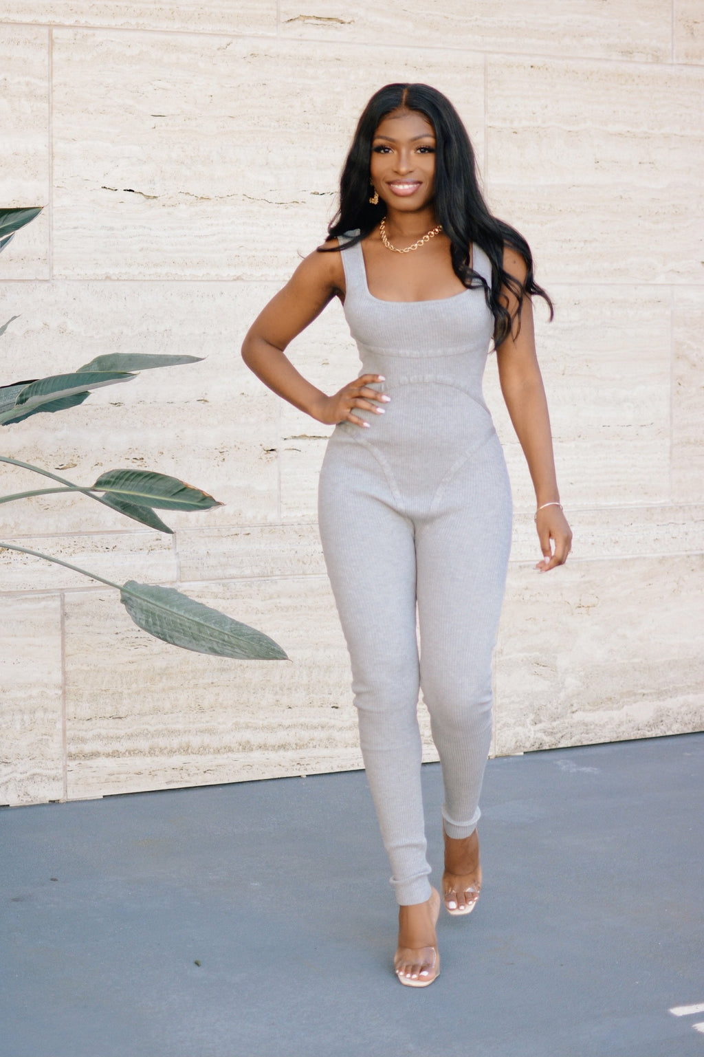 Lounging Around | Ribbed Knit Jumpsuit (Grey)