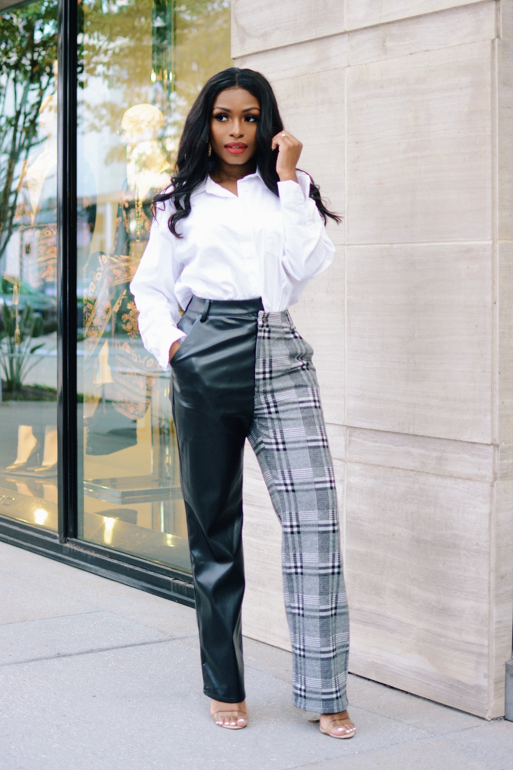 Split Decision | Plaid/Leather Asymmetric Hem Pants