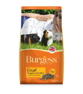 Burgess Excel Adult Guinea Pig Nuggets with Mint, 10kg Bag