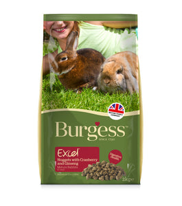 Burgess Excel Mature Rabbit Nuggets with Cranberry & Ginseng 2kg Bag