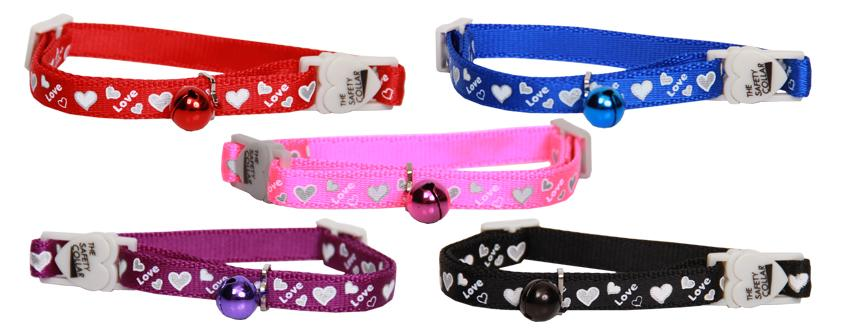 Cat Collar Reflective - Love Hearts