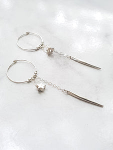 Stars In Their Eyes Hoop Earrings - Silver