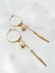 Stars In Their Eyes Hoop Earrings - Gold