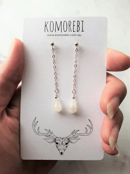 Long Moon Drop Earrings
