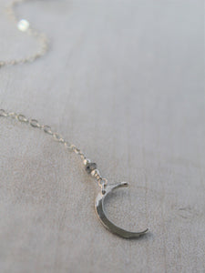 Crescent Moon Y Necklace - Silver - Labradorite / Moonstone