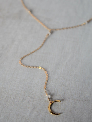 Crescent Moon Y Necklace - Gold - Moonstone / Labradorite