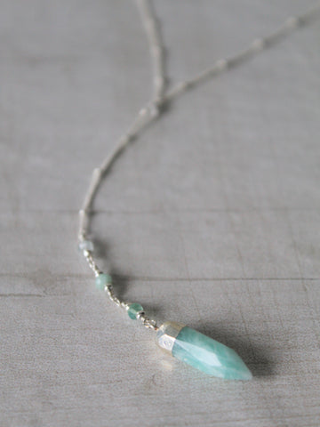 Odessa Y Necklace - Amazonite - Silver / Gold