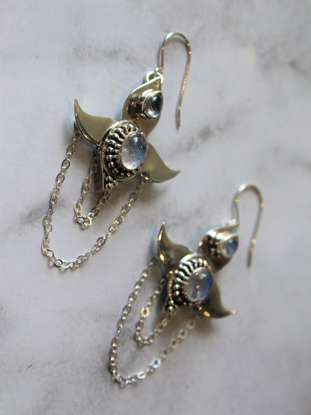 Moon Lotus Earrings - Moonstone - Silver