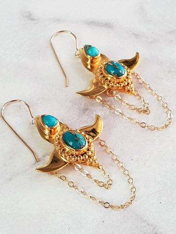 Moon Lotus Earrings - Turquoise - Gold