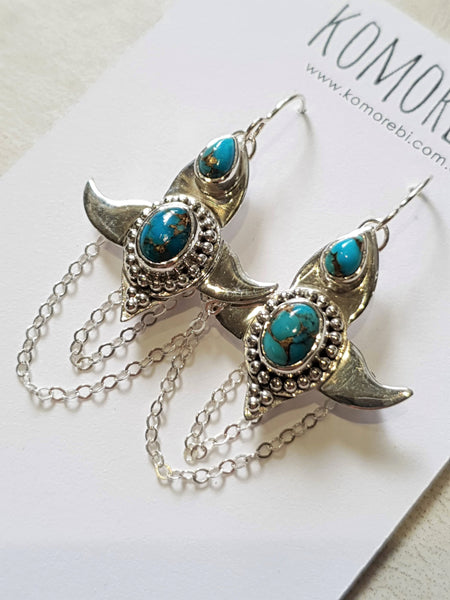 Moon Lotus Earrings - Turquoise - Silver