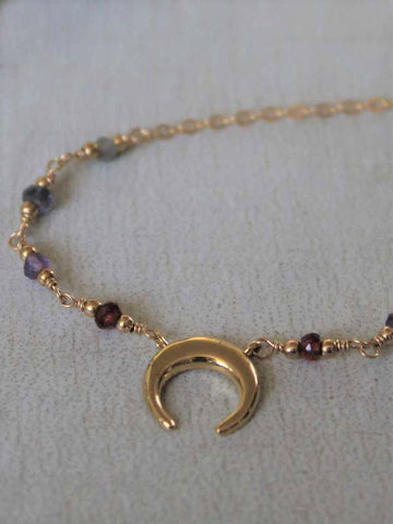 Rising Moon Necklace - Royal Dusk - Silver / Gold / Rose Gold