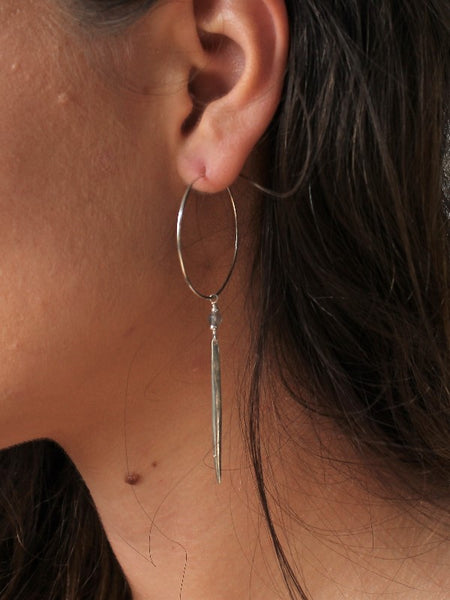 Eclipse Hoop Earrings - Gold / Silver - Labradorite / Moonstone